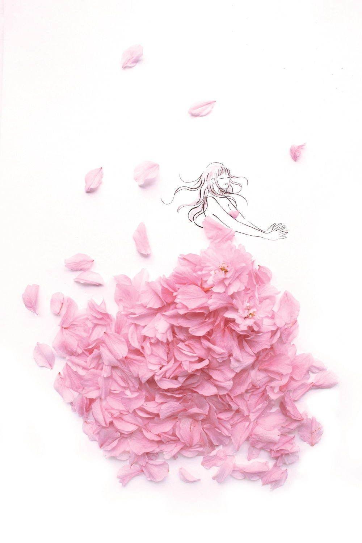 クラウディアから 花を全身にまとう 花言葉ウエディングドレス 八重桜