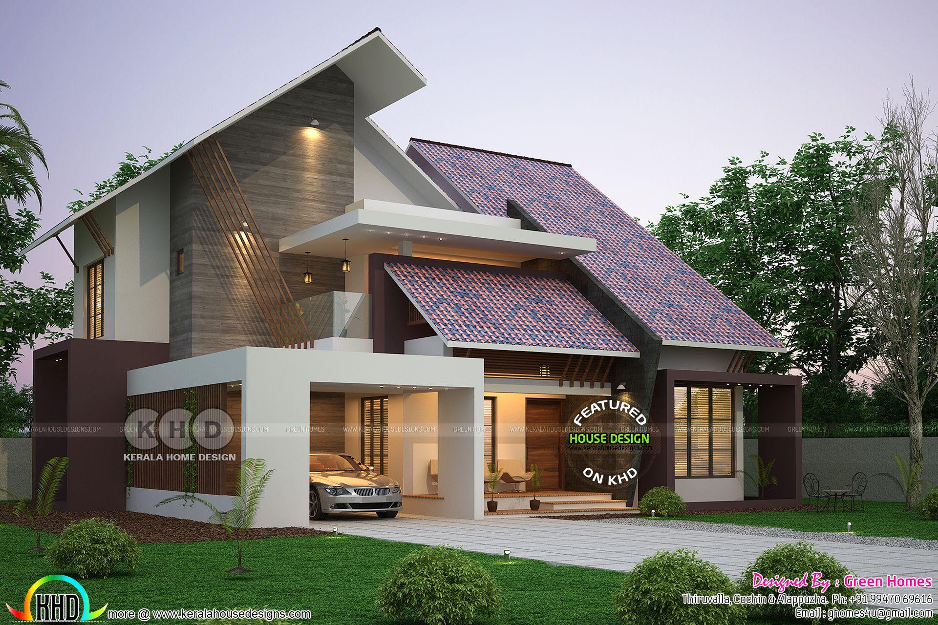 Ultra Modern Slanting Roof House Plan 2450 Sq Ft House Roof Design Duplex House Design Modern Style House Plans