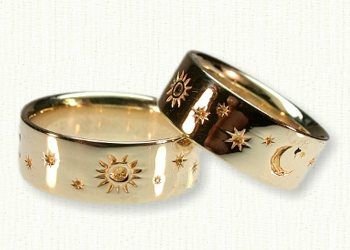 Gold horoscope wedding rings with sun moon stars and planets from