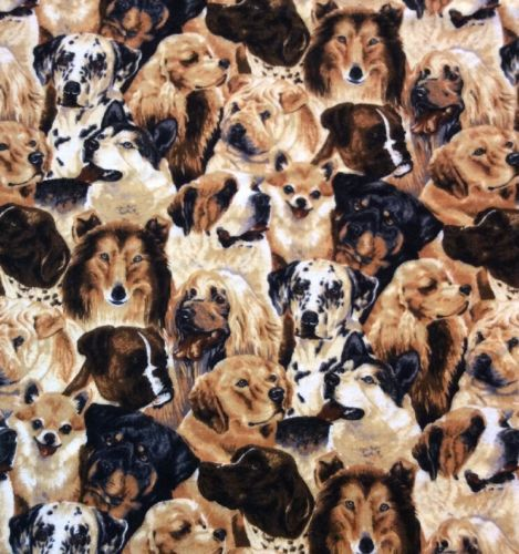 Dog-Breed-Flannel-Fabric-David-Textile-43-034-Wide-By-The-Yard-Huskie-Collie-Lab