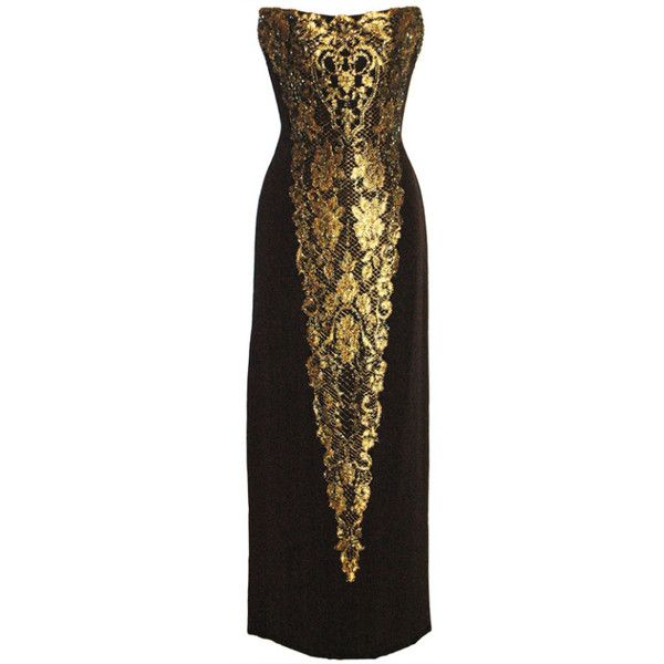 Preowned Bob Mackie Black & Gold Strapless Gown Dress ($500 ...