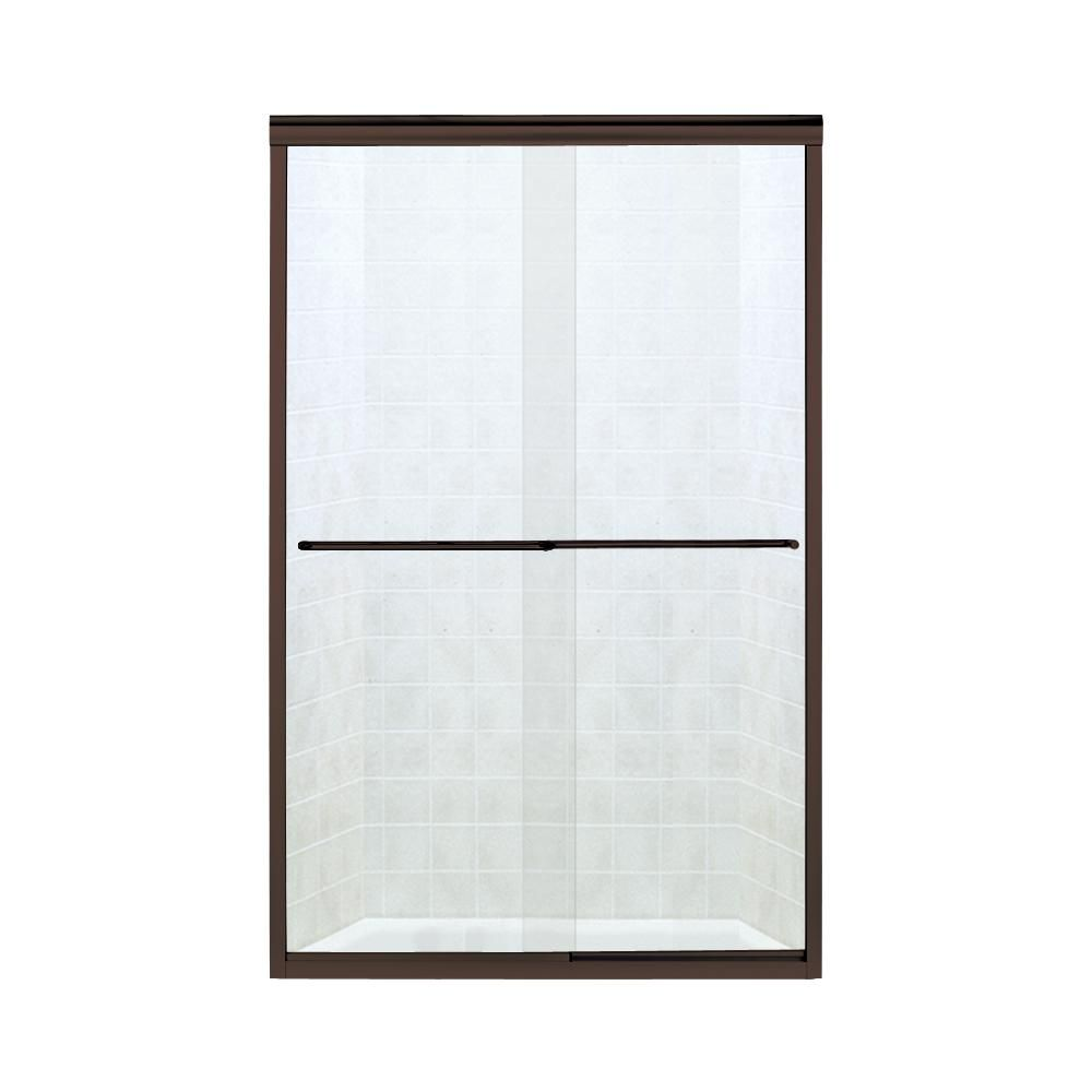 STERLING Finesse 47.25 in. x 70.3125 in. Frameless Sliding Shower Door in Deep Bronze-5375EZ-47DR #framelessslidingshowerdoors