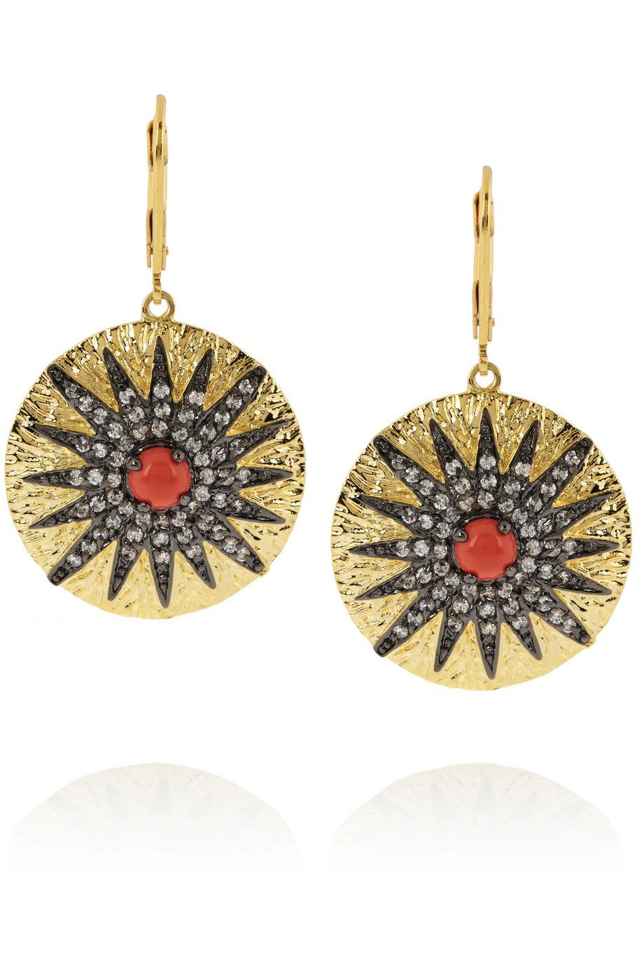 Gold-plated, cubic zirconia and cabochon earrings by Kenneth Jay Lane