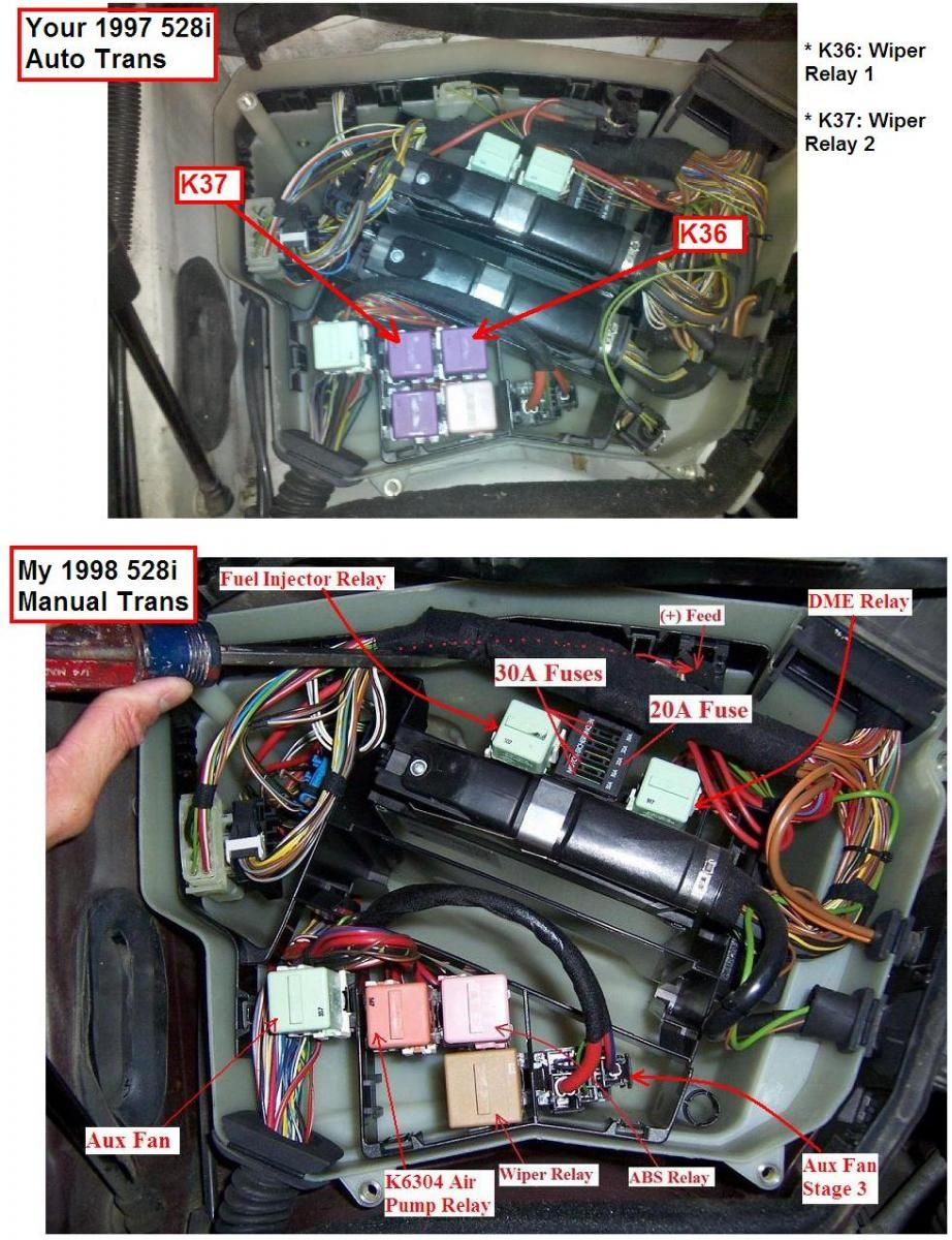 Picture & amperage & description of every single fuse & relay in the BMW E39