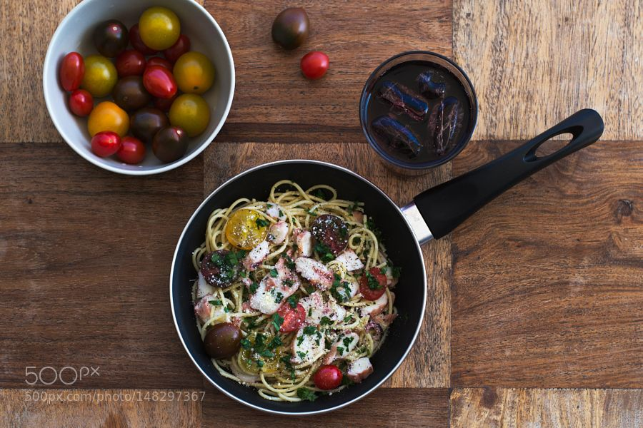 Pic: Octopus spaghetti with selection of fresh tomatoes