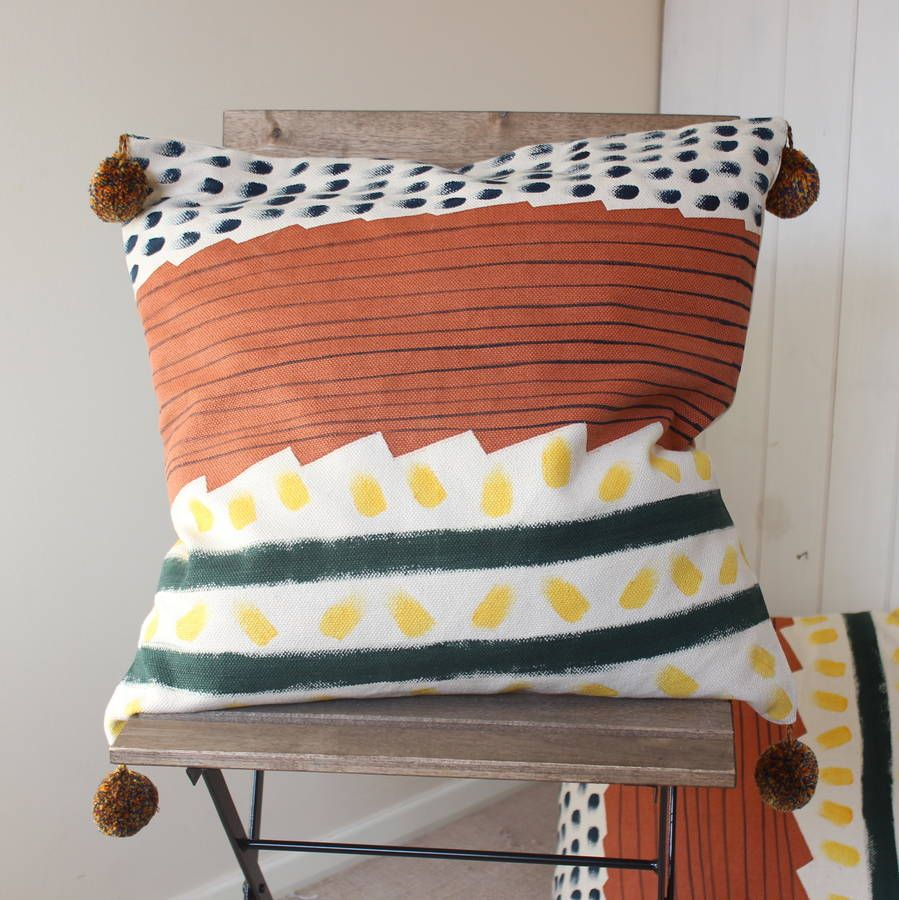 Hand Painted Pom Pom Cushion Cover