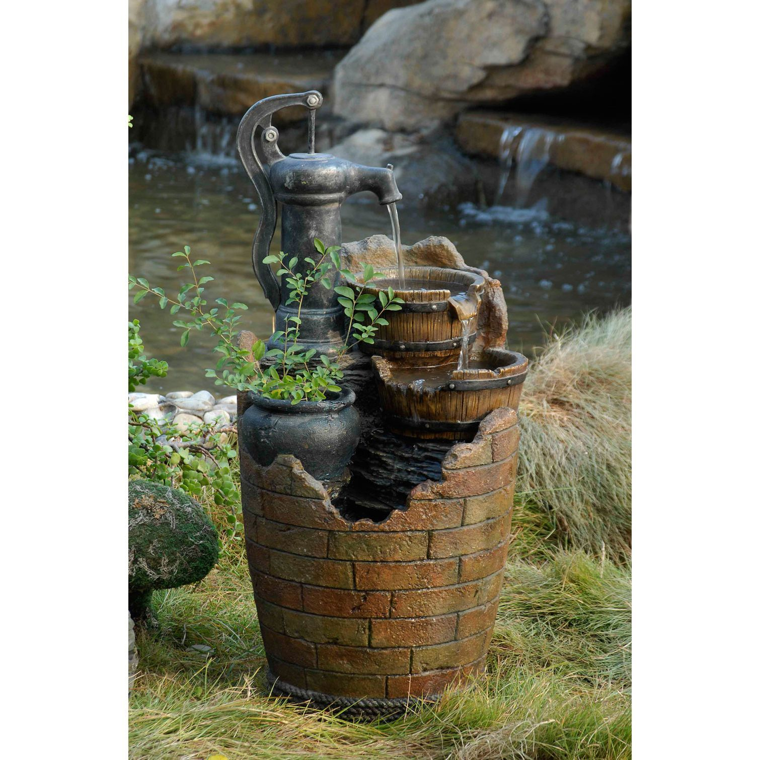 Jeco Glenville Water Pump Cascading Fountain Gl Outdoor DÃ Cor