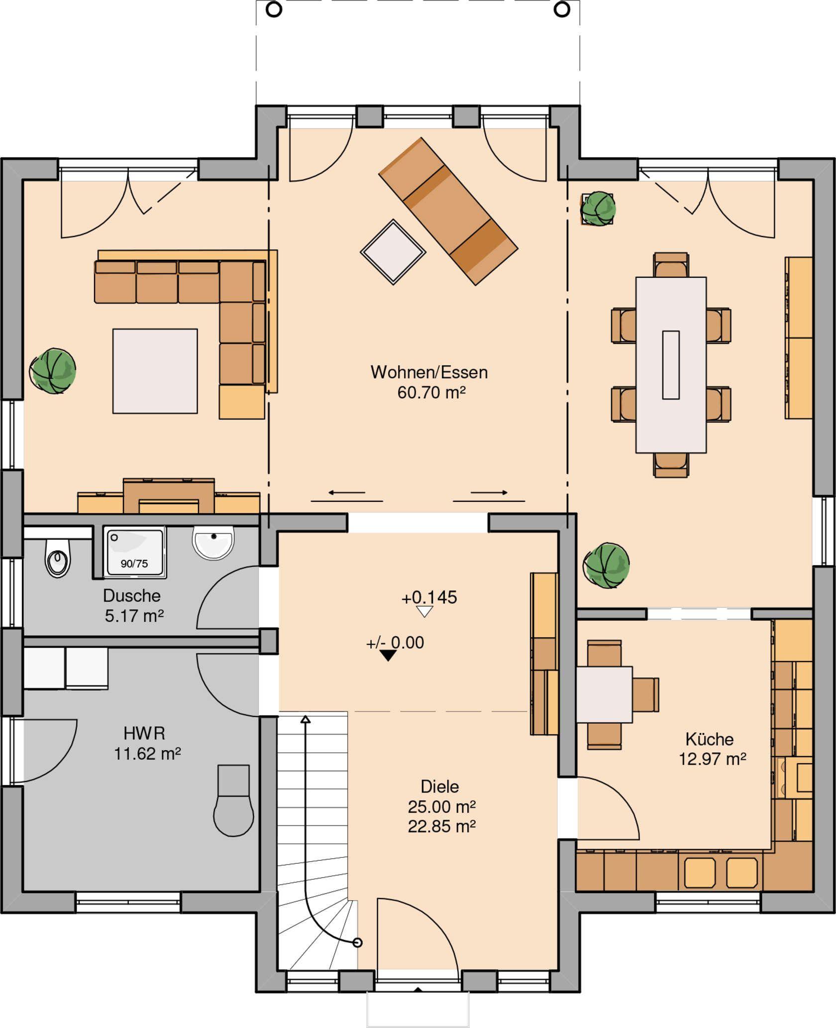 Kern haus stadtvilla karat grundriss erdgeschoss for Haus planen grundriss