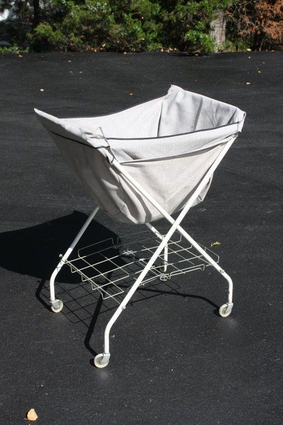 Vintage Folding Laundry Cart Laundry Basket On Wheels Laundry
