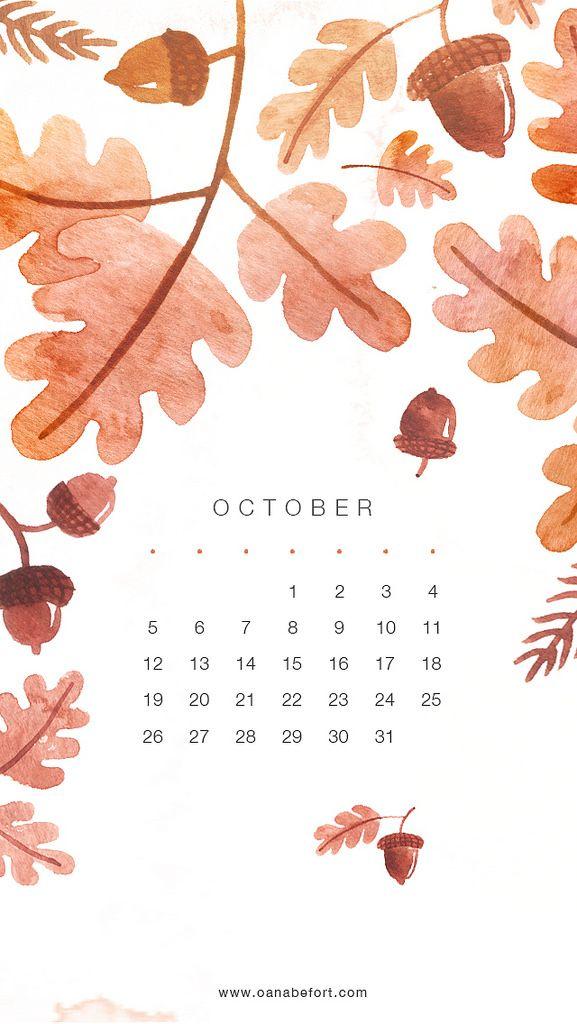 Leaves Acorns October calendar  phone wallpaper iphone background lock screen #octoberwallpaperiphone