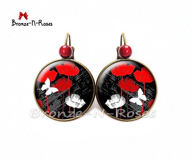 """Boucles d'oreilles """" Coquelicots et papillons """" cabochon rouge fleurs bronze noir dormeuses"""