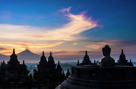 Abraham Mudito: This picture is taken early morning at Borobudur temple. The sun is rising up from the back of Mt. Merapi