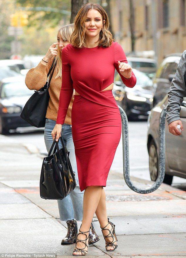 Katharine Mcphee Displays Her Toned Curves In Tight Red Dress In Nyc Tight Red Dress Katharine Mcphee Red Dress