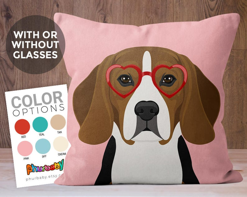 Beagle Pillow Dog Lover Gift Fiancé Gift Throw Pillow Etsy Animal Pillows Dog Pillow Throw Pillow Dog