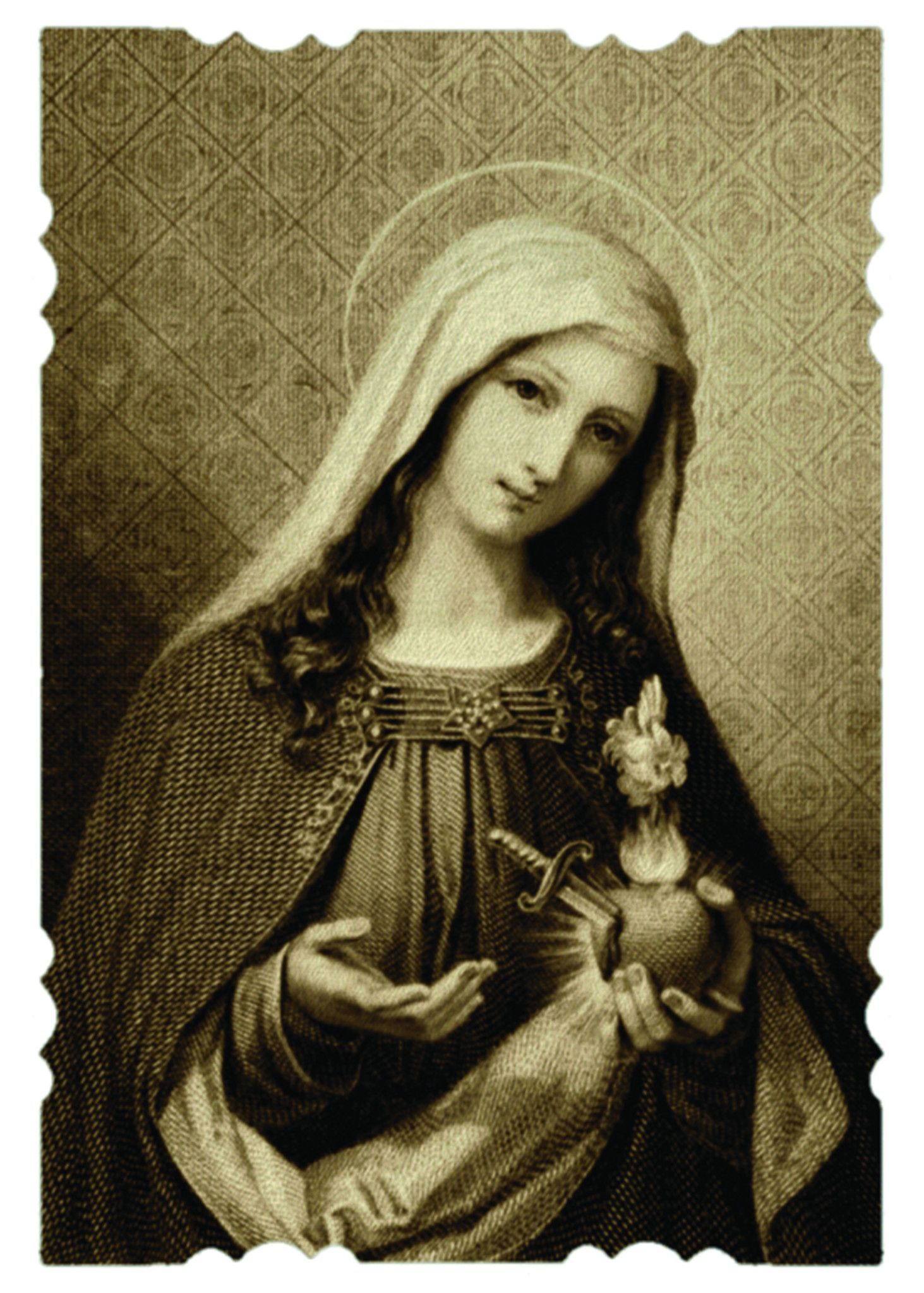 Glossy print of the Our Lady of Sorrows holy card image suitable for framing. A Full of Grace USA Original Product Printed on Sterling Premium photo paper (made in U.S. paper mills in Kentucky, Maine,