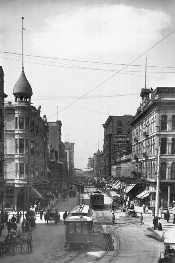 Old Los Angeles 1900 1910 Edwardian City Spring Street Downtown Streetcars Trolley Cars Callifornia