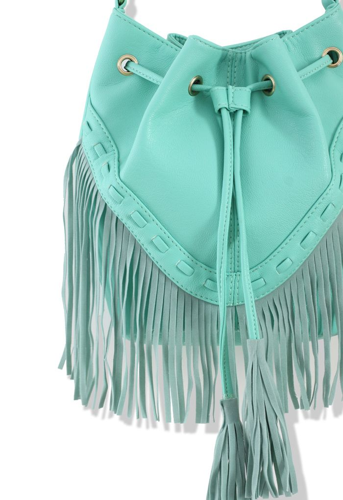 mint fringe purse