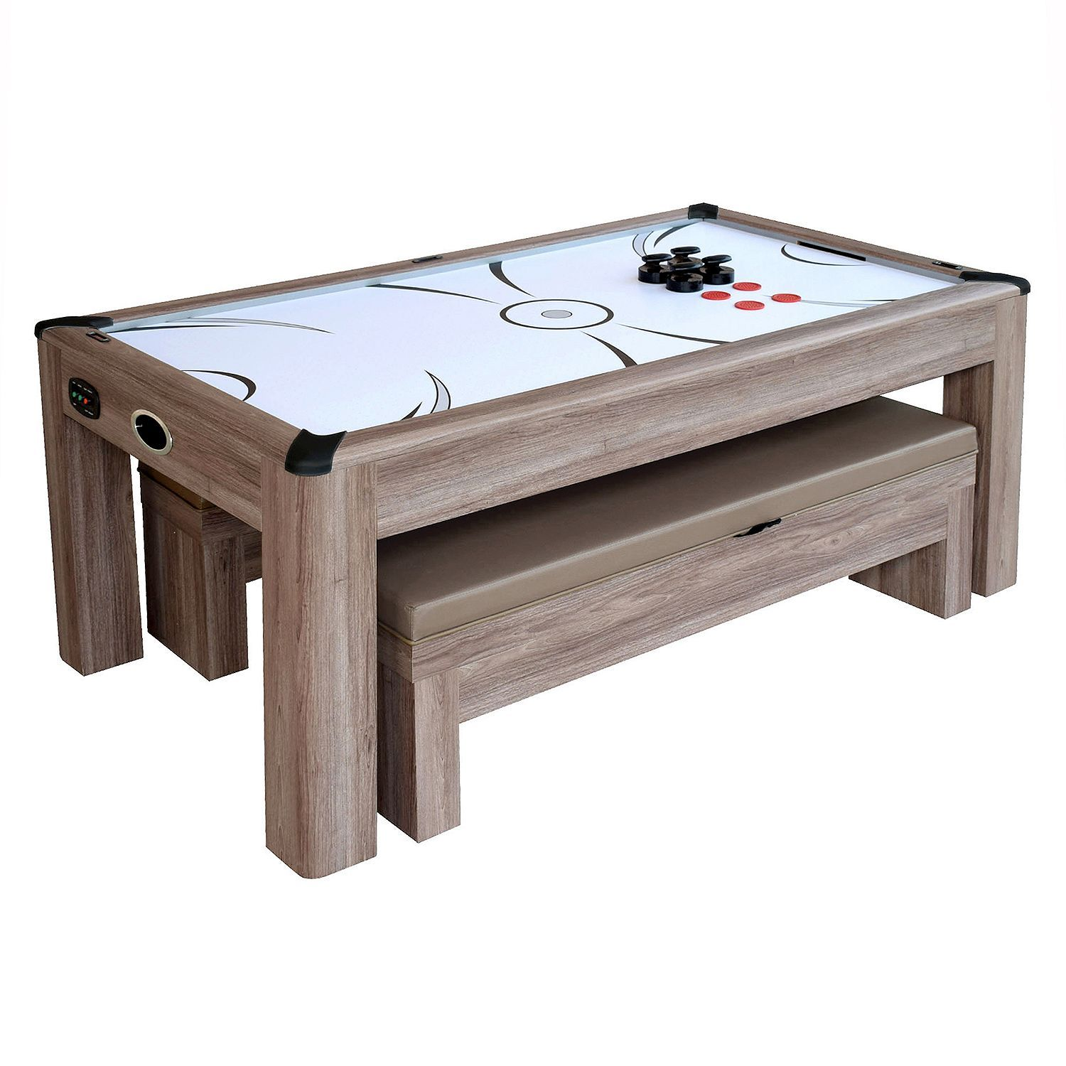 Driftwood 7 Ft Air Hockey Table Combo Set With Benches Pool Warehouse Air Hockey Table Multi Game Table Bench Seat Pads