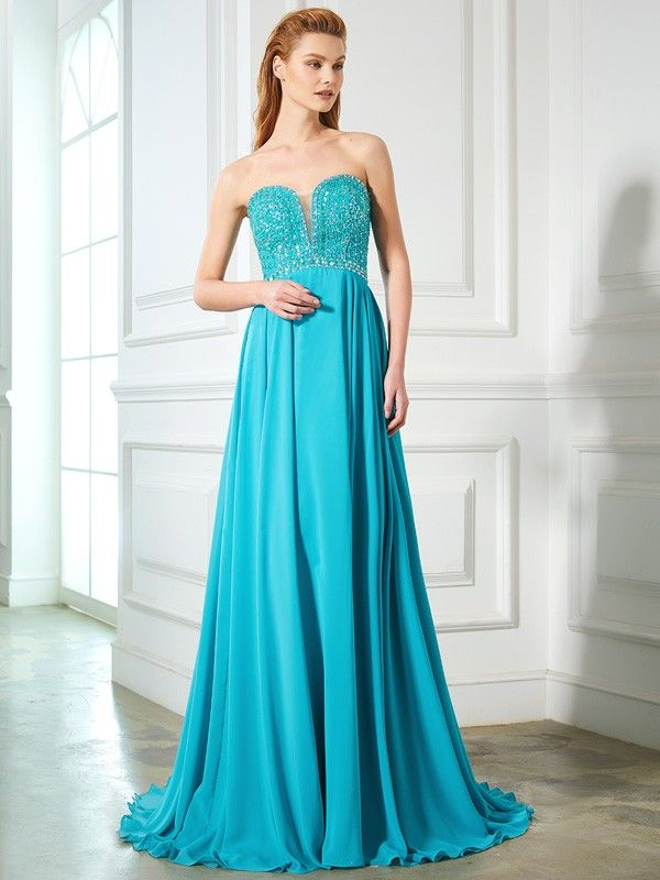 f76ddb0821a A-Line Princess Sweetheart Beading Sleeveless Chiffon Sweep Brush Train  Dresses - Hebeos.com - Pretty and graceful