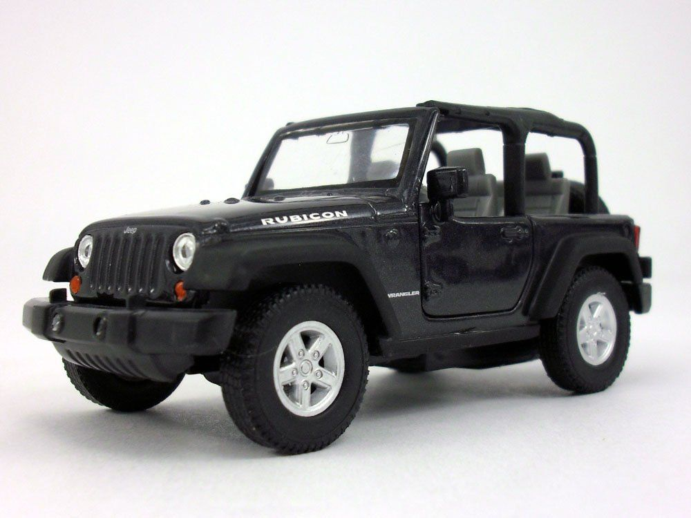 Welly Jeep Wrangler Rubicon 4 25 Inch Diecast Model Toy Car Black