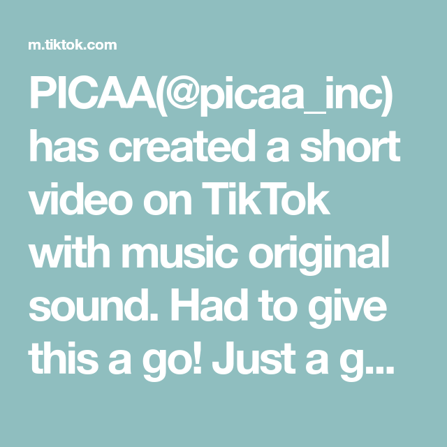 Picaa Picaa Inc Has Created A Short Video On Tiktok With Music Original Sound Had To Give This A Go Just A Guy Who Loves To S A Guy Who The Originals Music