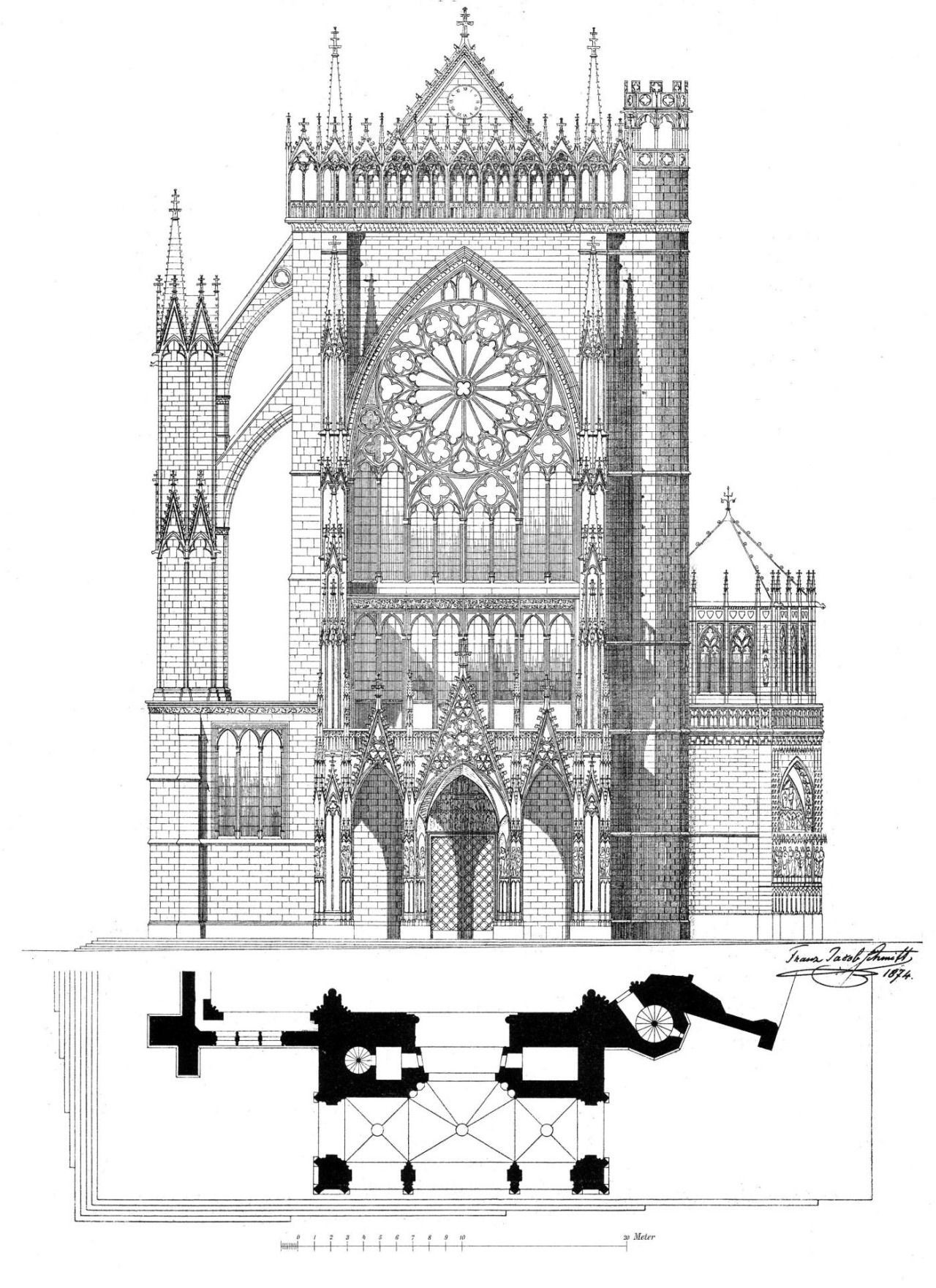 Architecture Drawing Cars elevation of the cathedral, metz | drawnings | pinterest