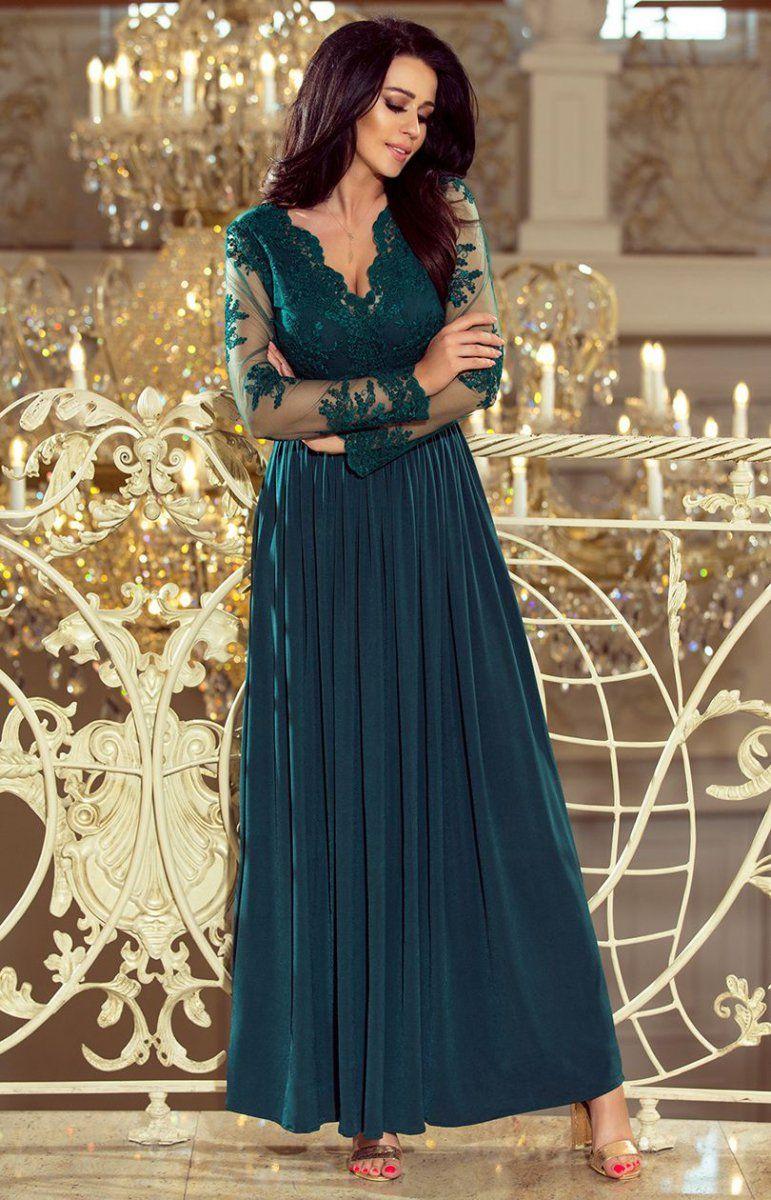 ac217a2517 Numoco 213-1 Atati sukienka maxi butelkowa zieleń Przepiękna długa sukienka  w kolorze pieknej butelkowej zieleni