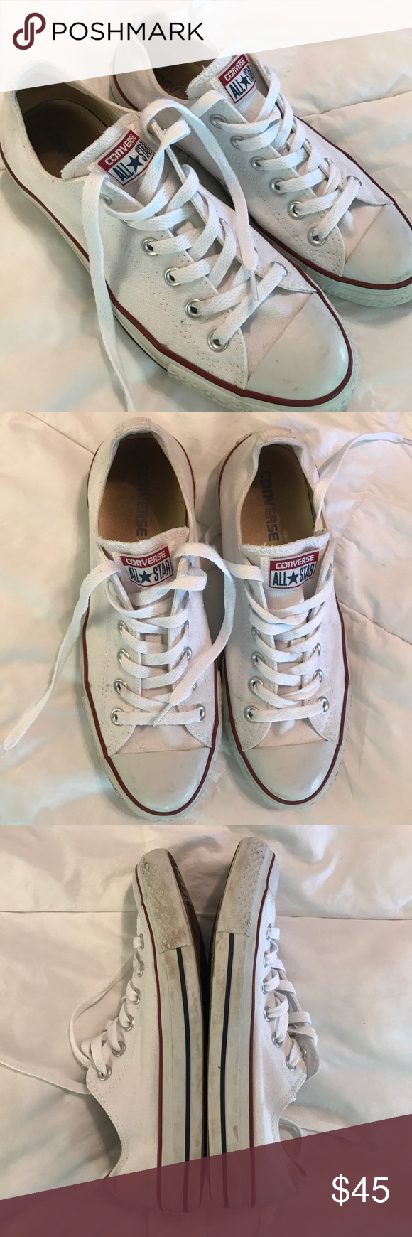 cafaa07b9f352e White Converse size 9 💎 worn a few times ⭐ great condition very clean ⚖  price negotiable. no trades. 📬 quick shipping ⚜ top 10% seller Converse ...