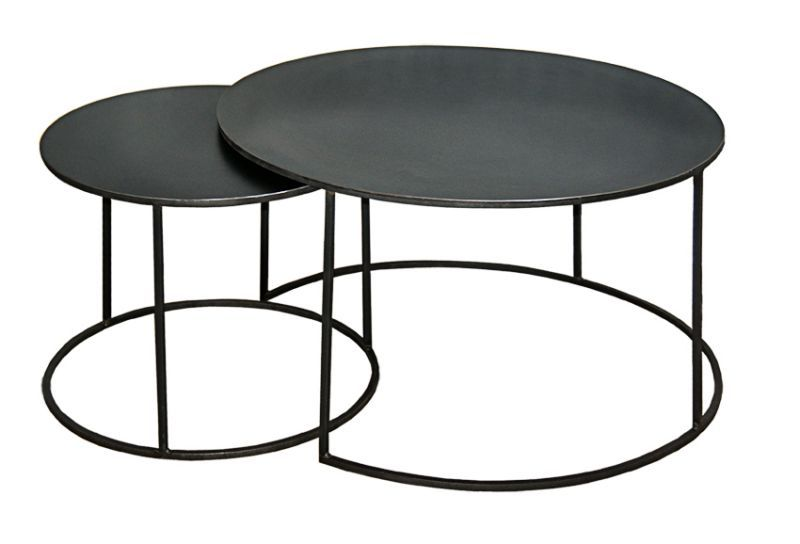 Table basse gigogne ronde - Table basse ronde noire ...
