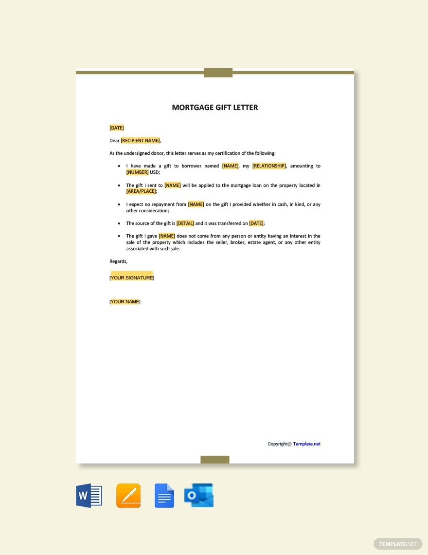 Free Mortgage Gift Letter Letter Templates Letter Templates
