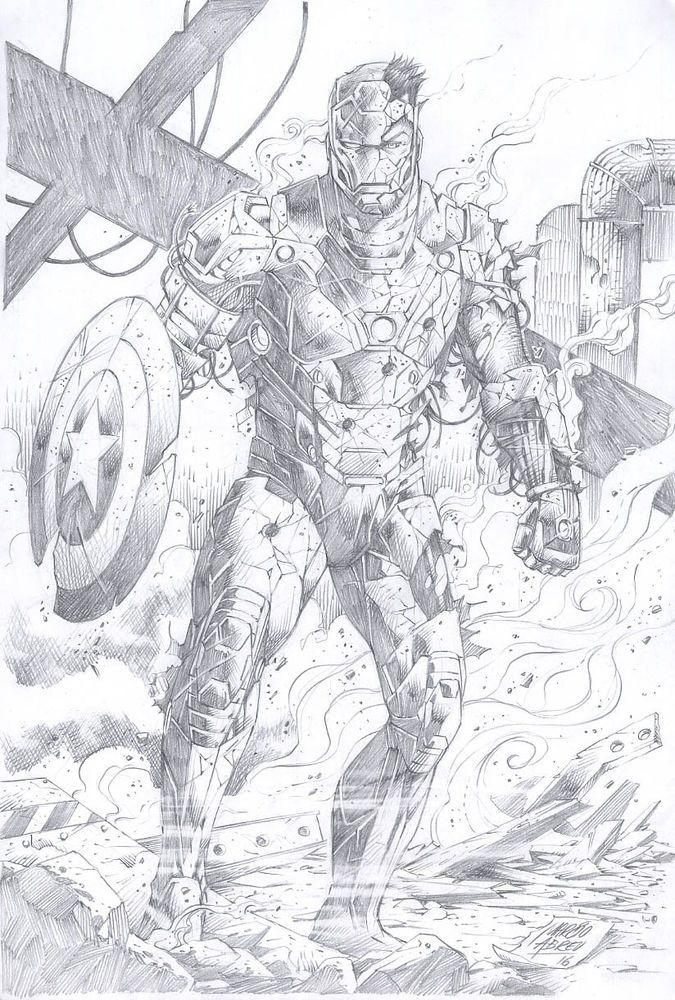 Marcio Abreu Iron Man Pinup Drawing Original Art Desenhos Ilustracoes Herois De Quadrinhos