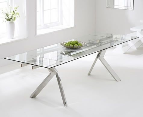 Nava Large Extending Clear Glass Dining Table 200 280cm Stainless