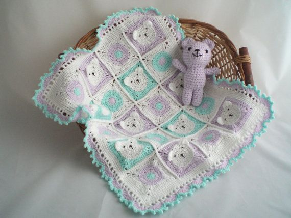 Crochet Teddy Bear Blanket Crochet Buggy Pram Car Seat Baby