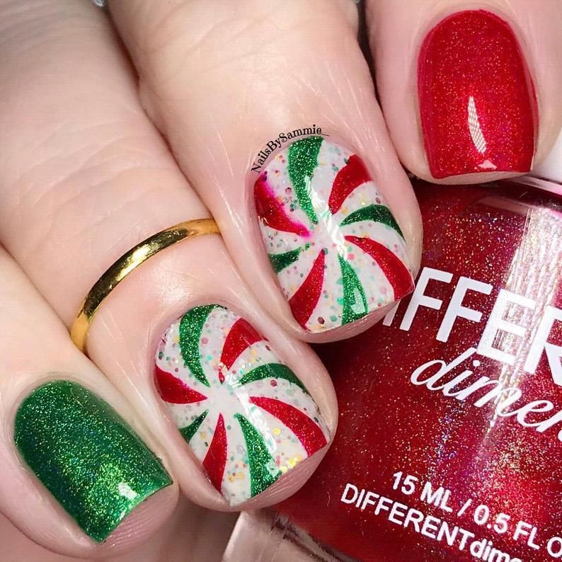 Peppermint Candy Stencils for Nails, Christmas Nail Stickers, Nail Art, Nail Vinyls
