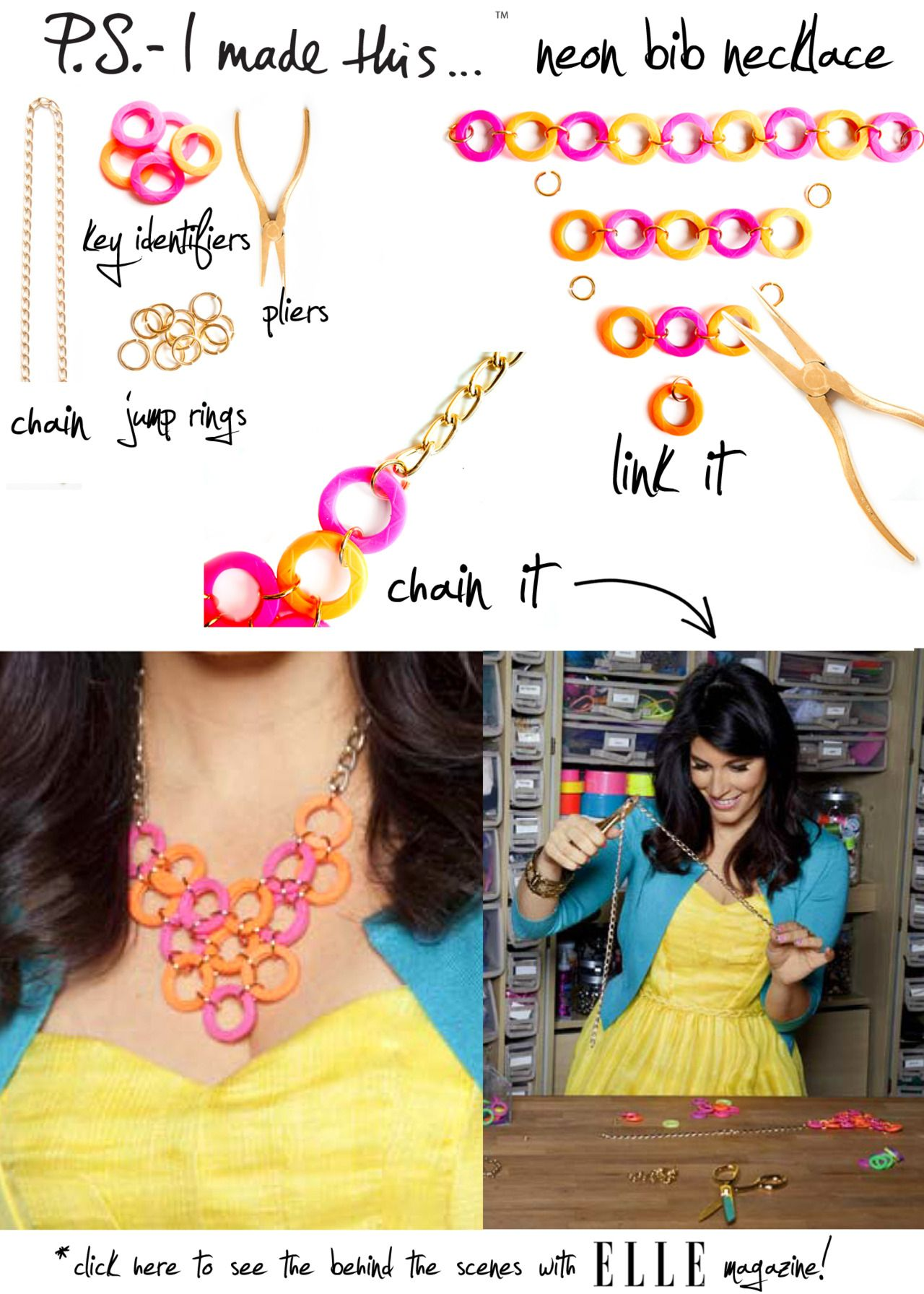 """It should be of no surprise, a pop of neon brings """"tiers"""" of joy to our eyes. A cascade of bold brights works day or night, and Summer's the ideal time to radiate shocking hues. Designers like Tom Binns and Oscar de la Renta have shown us that jewels are more chic with a colorful streak…unlock your own inner glow with this DIY neck candy!  To create, hit up your local hardware store for these colorful key identifiers. Layout a pattern and secure each circle with jump ring"""
