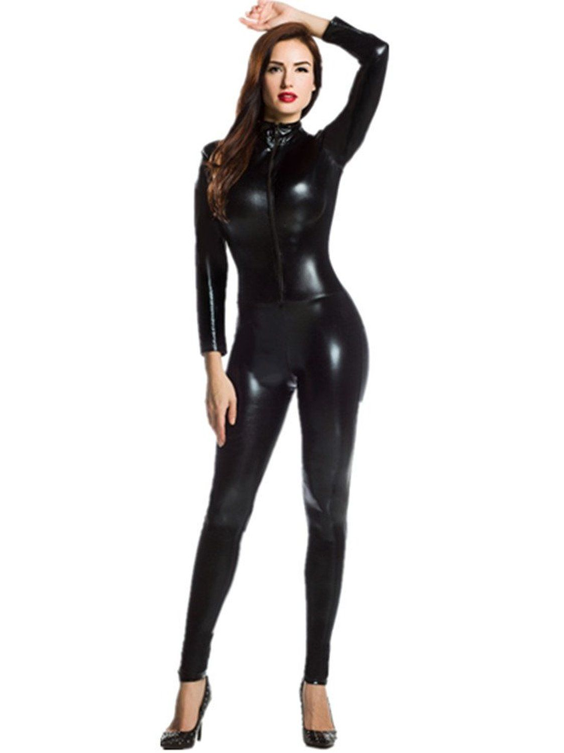 ed3105a6ca54 Amazon.com  Amour- Catsuit Women Bodysuit Zip up Clubwear Stripper (Regular  Size