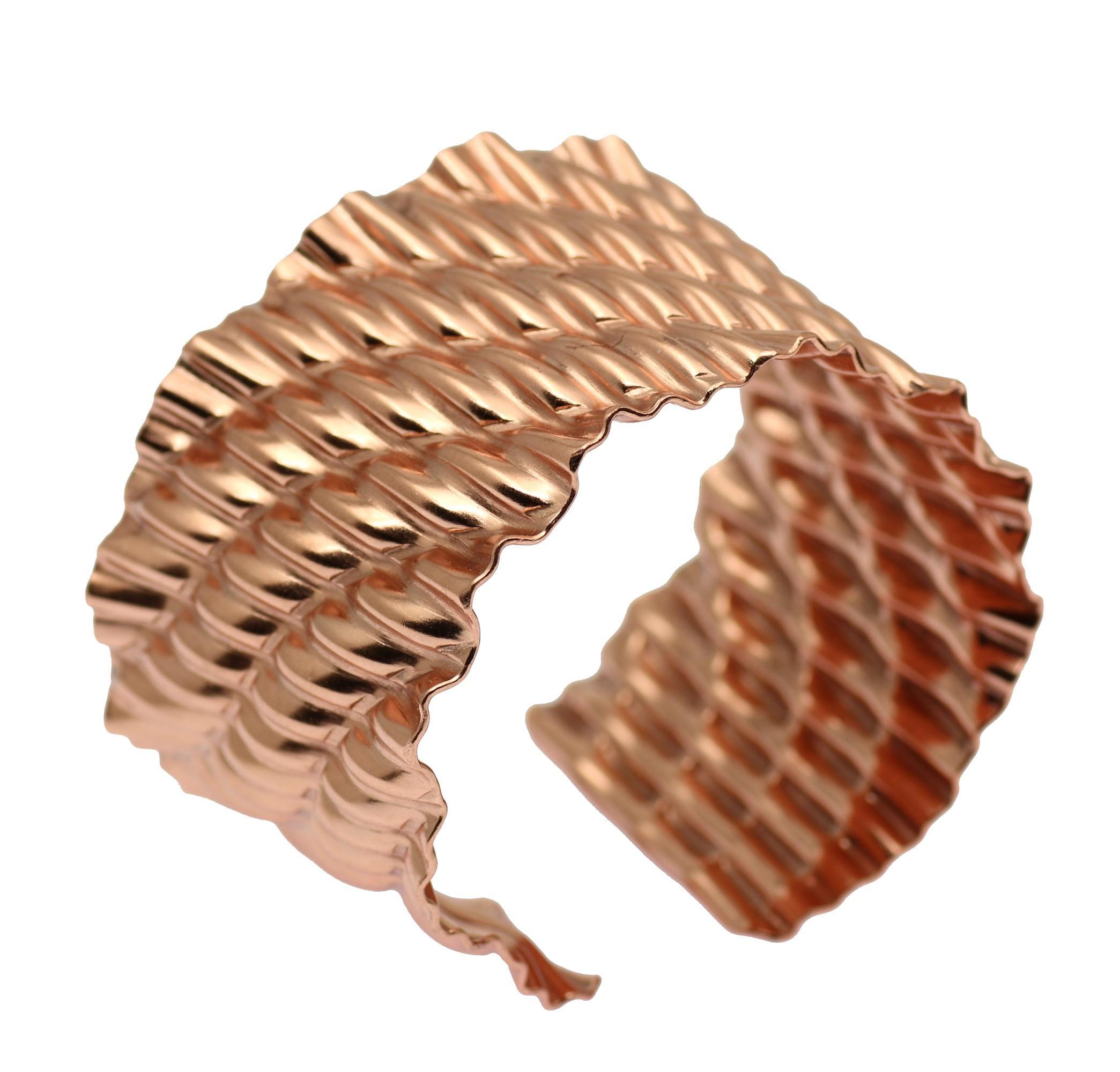 27% OFF! Fashionable Corrugated Wave Rose Gold Tone Cuff Bracelet Highlighted on #AmazonPrime #FreeShipping http://www.amazon.com/dp/B01B6T2SE4