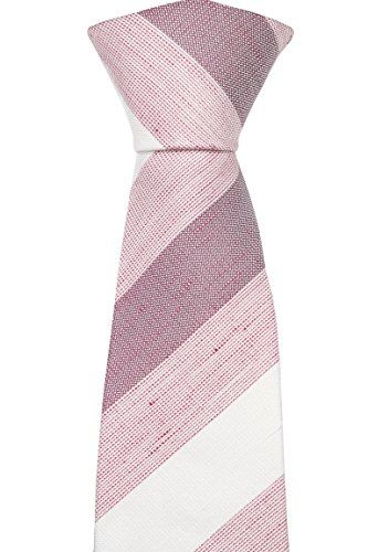 Notch Men's Linen Slim Necktie INDIANA Broad stripes in white and two shades of red  http://www.yourneckties.com/notch-mens-linen-slim-necktie-indiana-broad-stripes-in-white-and-two-shades-of-red/