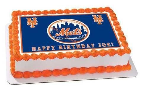New York Mets Edible Birthday Cake Topper OR Cupcake Topper Decor