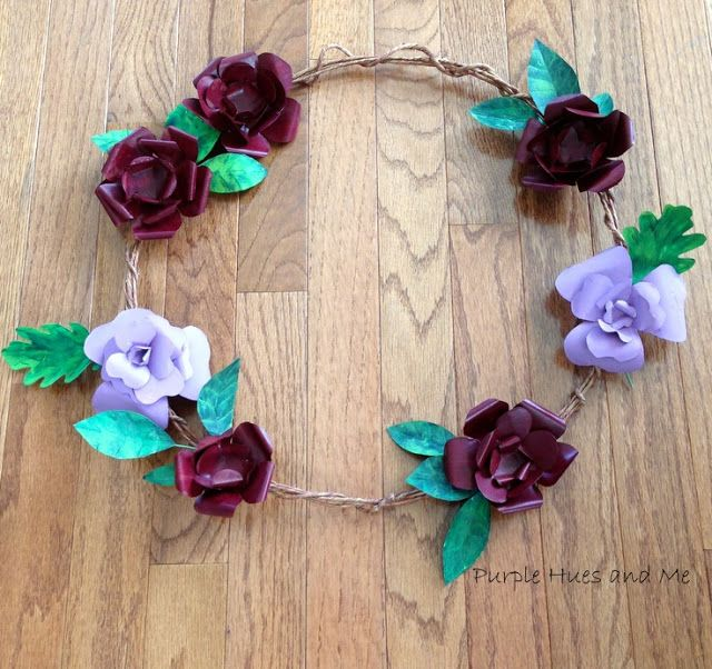 Repurpose Beer Can Flower and Leaf Wreath