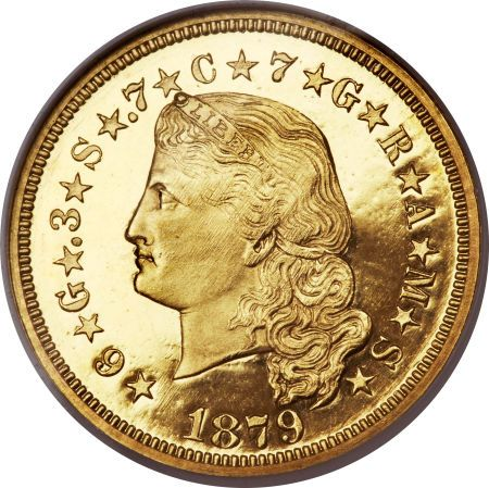Proof Four Dollar Gold Pieces, 1879 $4 Flowing Hair PR66 Ultra Cameo.