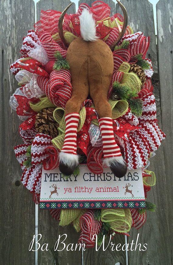 Funny Christmas Christmas Swag Christmas Wreath By Babamwreaths
