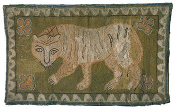 Knitted Rug is attributed to Elvira Hulett, a member of the Hancock Shaker Community. The Tiger hooked rug, c. 1820, Western Massachusetts, Yarn sewn on linen. The Shelburne Museum, Shelburne, VT.