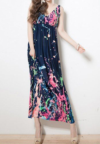 Bohemian Style V-Neck Watercolor Print Ladylike Maxi Dress For Women