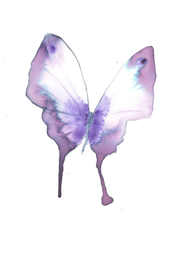Purple And White Butterfly Original Watercolour And Ink Painting