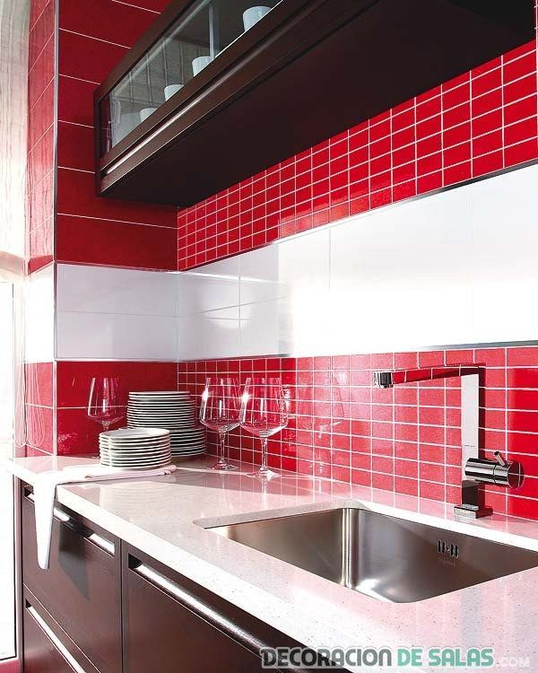 Gresite en rojo para cocinas decoracion pinterest - Cocinas en rojo ...