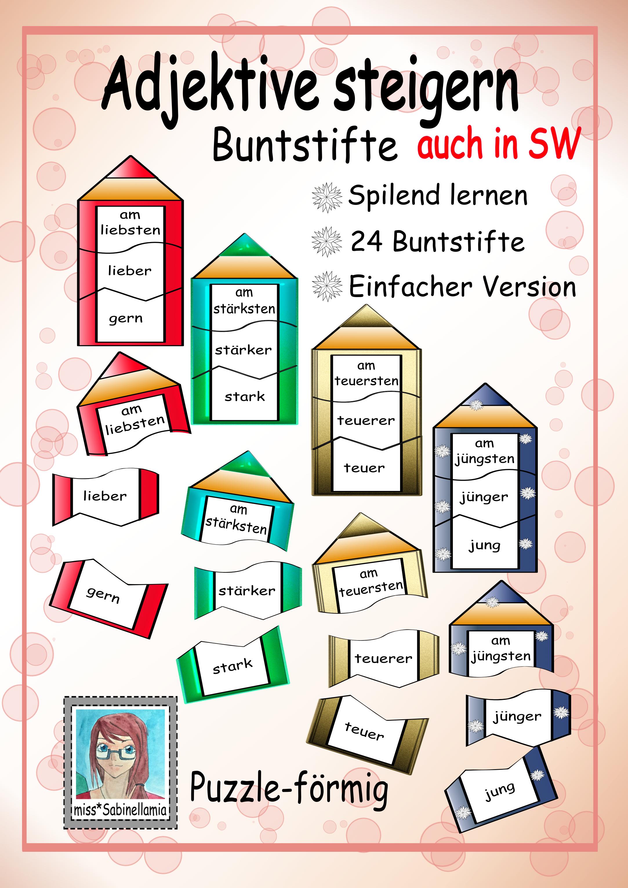 Adjektive steigern mit Buntstifte Puzzle auch für den DaZ/DaF ...