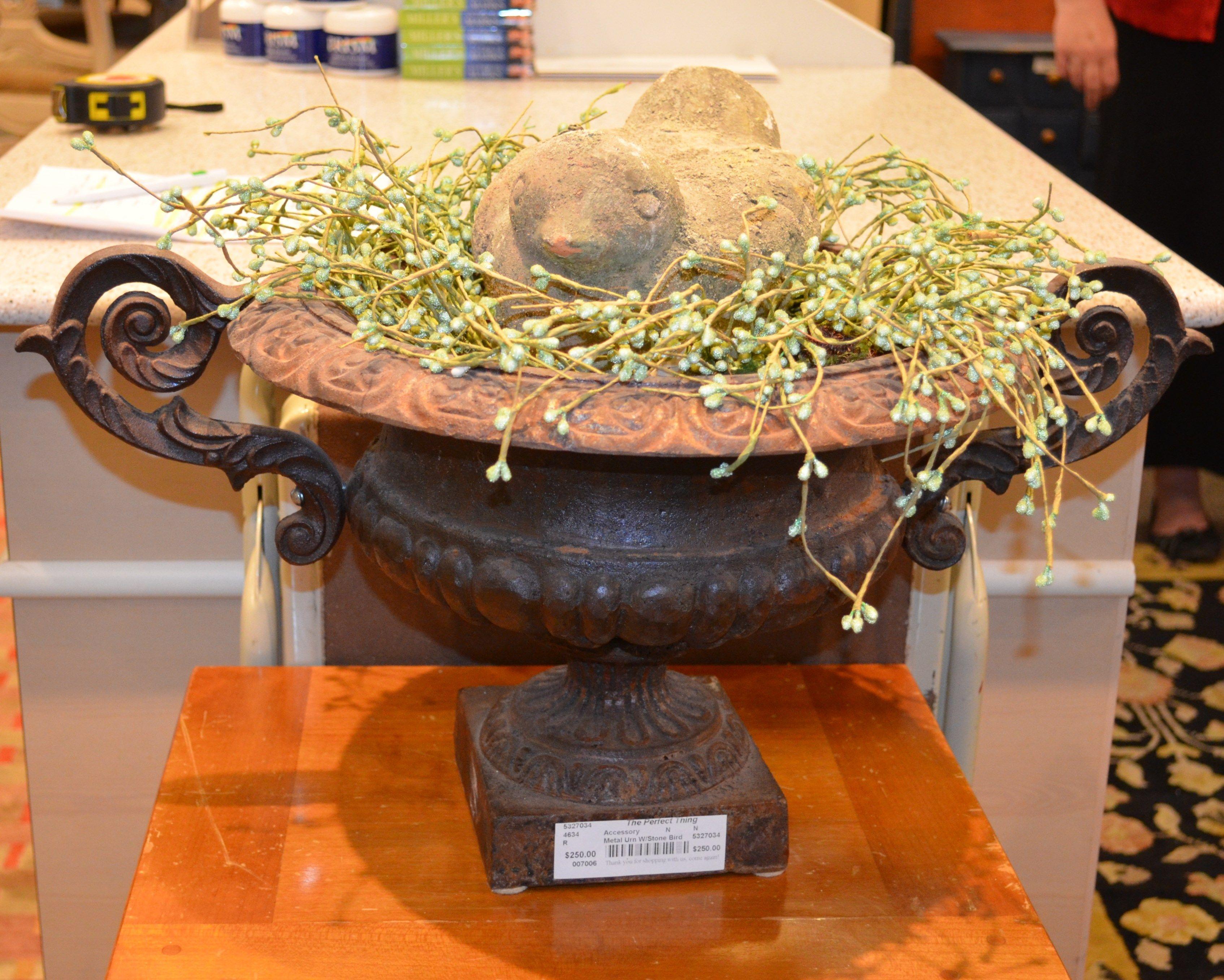 Garden Urn with Stone Bird.