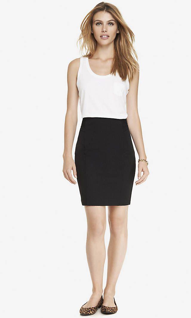 94855fd8eba9 High Waist Pintucked Pencil Skirt from EXPRESS