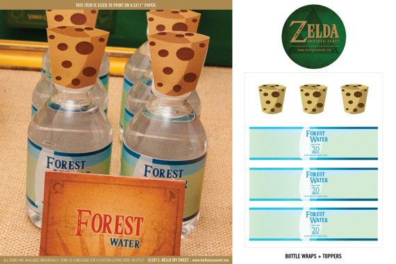 Zelda Bottle Labels INSTANT DOWNLOAD Birthday Party Print Your Own Decorations
